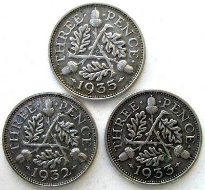 Great Britain Coins, Lot Of 3, Threepence 1932 & 1933 & 1935, George V, Silver
