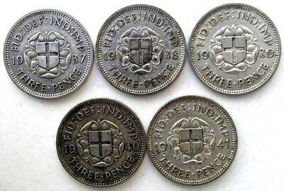 Uk Coins, Threepence 1937 & 1938 & 1939 & 1940 & 1941, George Vi, Silver 0.500