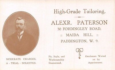 W London Paddington Fordingley Road Alexander Paterson Tailor Advertising Card