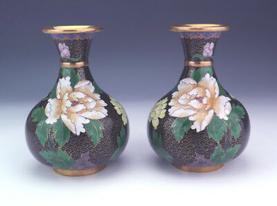 Antique Chinese Oriental Flower Decorated Cloisonne Vases - Lovely!