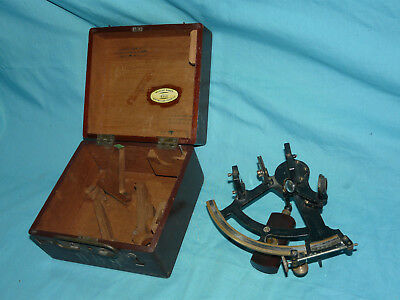 Vintage Antique US Navy SEXTANT Brandis & Sons w/ Wooden Box #936 missing pieces