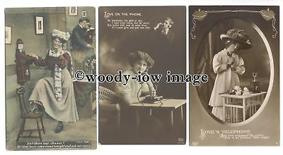 "su3259 - ""Love on the Phone"" Young Ladies talking to their Lovers - 3 postcards"