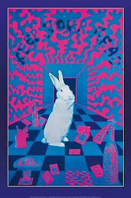 EAST TOTEM WEST PSYCHEDELIC Black Lite Poster WHITE RABBIT