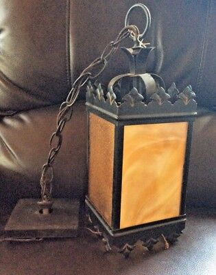 Vintage Black Wrought Iron Hanging Lantern stained glass light fixture porch
