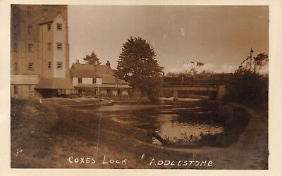 Surrey Addlestone Coxes Lock Steam Train On Railway Bridge Buildings Photo Card