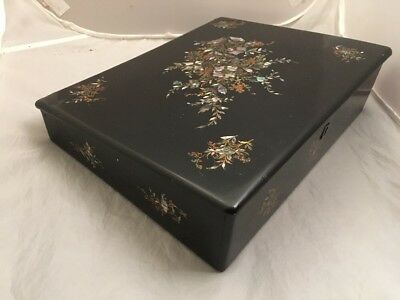 Victorian Jennens & Bettridge Lacquer Papier Mache Antique Writing Slope Box