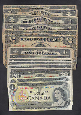 1917-1973 Canada 1$, 2$, 5$, 10$ And 20$ Dollars Bank Notes Lot Of 15