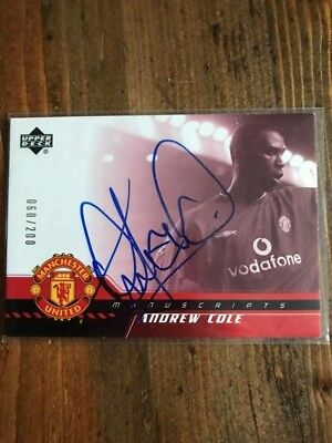 autograph from Andrew Cole on a manchester city trading card in person