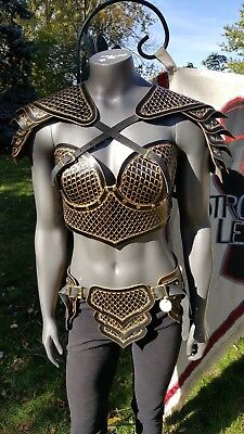 Gold and Black Dragon Scale Tooled Female Leather Armor LARP Renaissance Costume