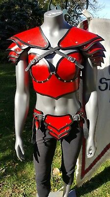 Red and Black Female Leather Armor LARP Renaissance Costume