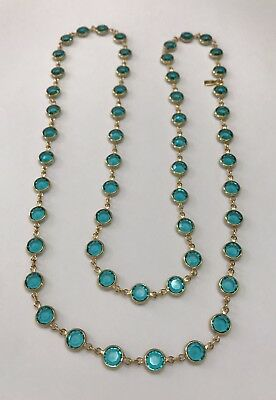 Swarovski Crystal Bezel Necklace Gold Plated Toned Metal Blue/Green Crystal