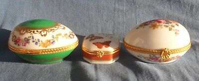 3 x Limoges Trinket Boxes 2 Egg Shaped and 1 Square