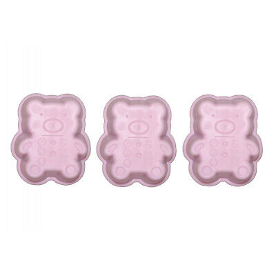 Set of 3 Mini Silicone Baking Pan Bears Pink Cake Pan CupCake Shape Muffin Party