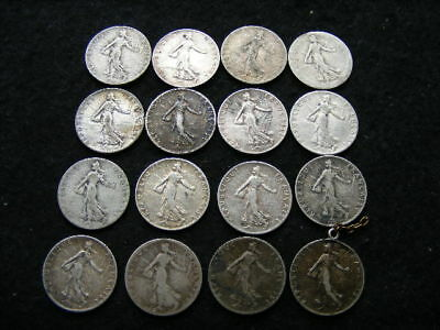 France Silver 50 Centimes Lot of 16 mixed dates & condition
