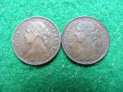 Victoria Bun Head Farthing Lot of 2: 1874H & 1875H good fine or better