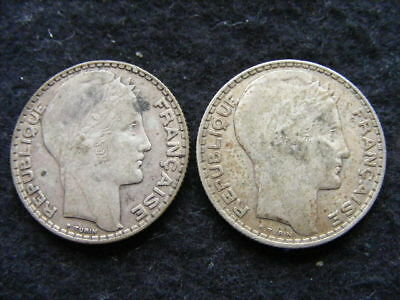 France Silver 10 Francs Lot of 2: 1939 & 1933 as pictured
