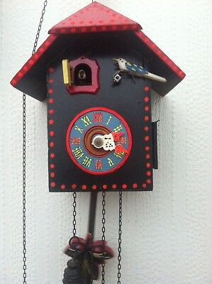 Vintage Mechanical German Cuckoo Clock with Chick ,Part Working Rare & Beautiful