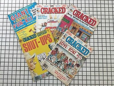 Cracked comics magazines (5) lot, 1981, 1982, vintage, Giant Fun-Kit issue