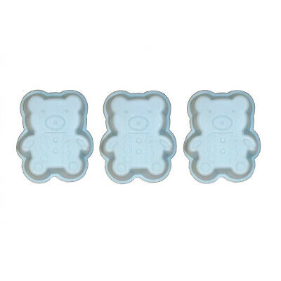 Set of 3 Mini Silicone Baking Pan Bears Blue Cake Pan CupCake Shape Muffin Party
