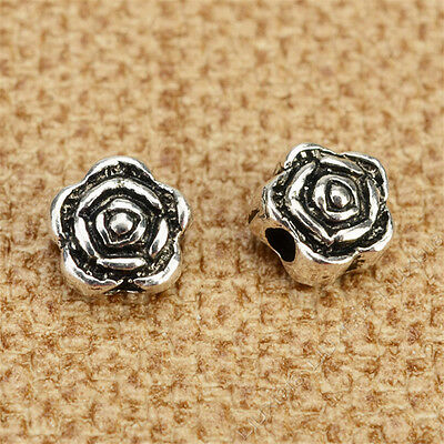 30pc Rose Flowers Spacer Beads Tibetan Silver Beading Jewellery Making /G119