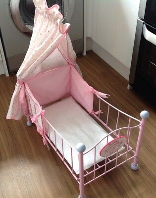 Baby Annabell Pink Metal Cot