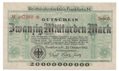 2o Milliars Marks German banknote issued by ReichsBahnDirektion Frankfurt a/Main