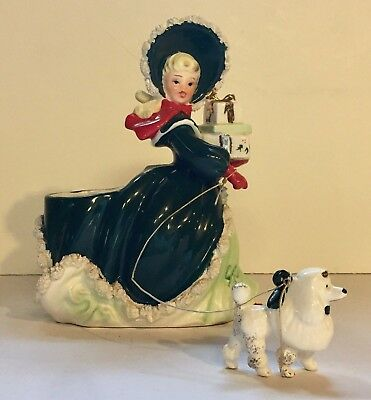 Vintage Napco Christmas Girl Figurine Planter w/Gifts Poodle Dog Spaghetti Trim