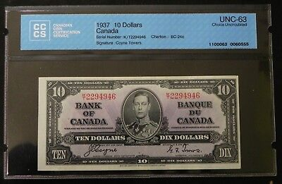 1937 $10 Canada Bank Note CCCS Certified UNC-63 Choice Uncirculated