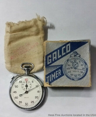 Mint Gallet Galco Chronograph Time Watch With Box Jules Racine 7 Jewels Running