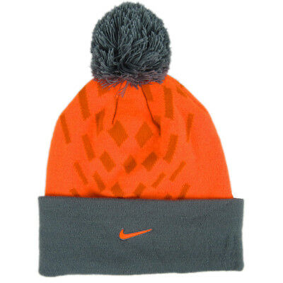 NWT Nike Elite Youth Unisex Neon Orange Knit Ski Hat Grey Pom Cuffed Swoosh OSFM