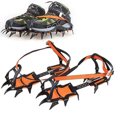 12 Teeth Crampons Winter Strappy Snow Ice Gripper Durable Shoes Spikes Cleats
