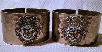 Pair of Simba Africa Hand Made Silver Metal Napkin Rings with Cape Town Crests