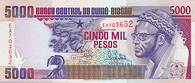 5000  Pesos Aunc-Unc Banknote From Guine-Bissau 1990!pick-14