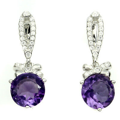 Luxury Round 8mm Top Intense Purple Amethyst W Cz 925 Sterling Silver Earrings