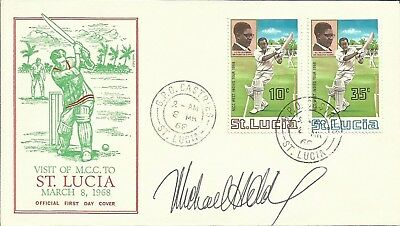 1968 Visit of MCC to St.Lucia FDC, ORIGINALLY SIGNED by MICHAEL HOLDING!