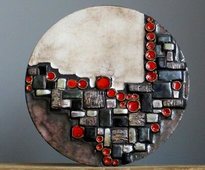 Vintage 60-70's RUSCHA ABSTRACT 3D Wall Plaque W.German Pottery Fat Lava Vase E