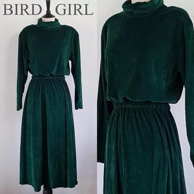 Boho Chic 1980S Vintage Forest Green Velour Indie Long Dress 12-14 M