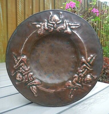 Antique 19Th C. Hand Crafted Embossed Art Nouveau Decoration Copper Dish