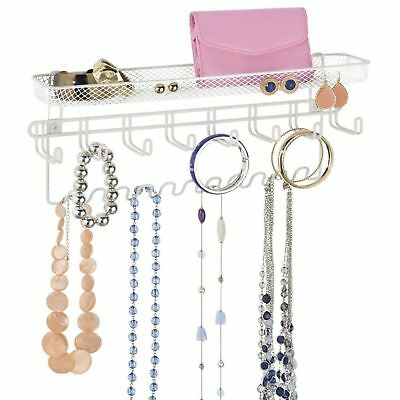 White Wall Mounted Jewellery Organiser Necklace Watch Tie Key Hanger