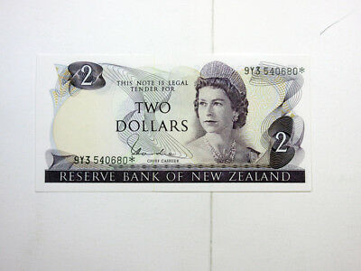 New Zealand, $2 *star Note, Hardie Sig (1977-81) Gem Unc. Nice