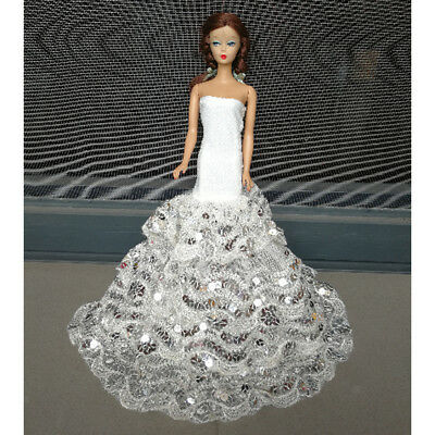 Party Gown For Barbie Doll Evening Strapless Dress Gauze Lace Sequin Clothes