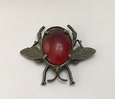Antique Victorian Art Deco Jelly Belly Bug Insect Pin Brooch Silver Toned Metal