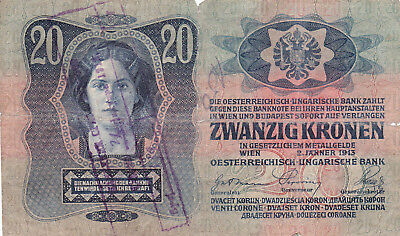 20 Krone Banknote 1919!with Military Stamp Of Kingdom Of Serbs,croats Slovenes!