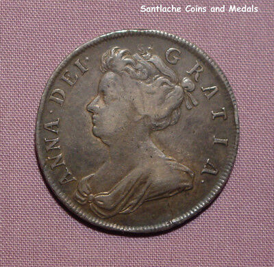 1706 QUEEN ANNE SILVER HALFCROWN - Roses and Plumes
