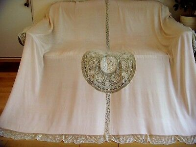 Exquisite French Large Embroidered Normandy Lace Valenciennes Silk Bedspread