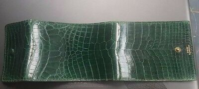 Rare Hermes Paris Green Crocodile Alligator Wallet Agenda Portefeuille Bag Sac