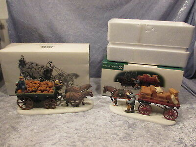 Harvest pumpkin Wagon 56591 AND Gourmet chocolates delivery wagon Dickens villag