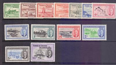 1950 Turks and Caicos SG221-33 Full set to 10s Fine Fresh MINT Cat £85