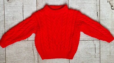 HAND KNITTED Unisex Red Aran Chunky Knit Jumper Seasonal Wool Mix Age 0-3 Months