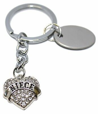 personalised metal diamanté heart keyring in velvet gift pouch BR535 Engraved